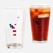 Golfer American Flag Drinking Glass