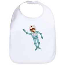 Sock Monkey Astronaut Baby Bib