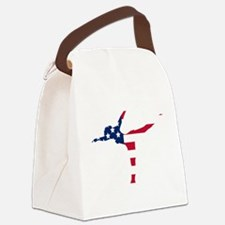 Figure Skater American Flag Canvas Lunch Bag