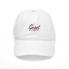Grant surname artistic design with Flowers Baseball Cap