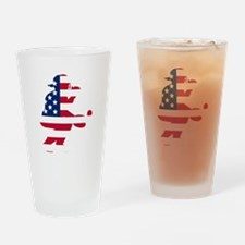 Baseball Catcher American Flag Drinking Glass