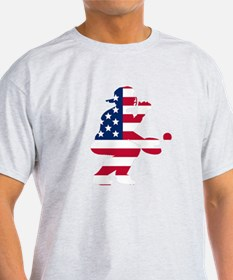 Baseball Catcher American Flag T-Shirt