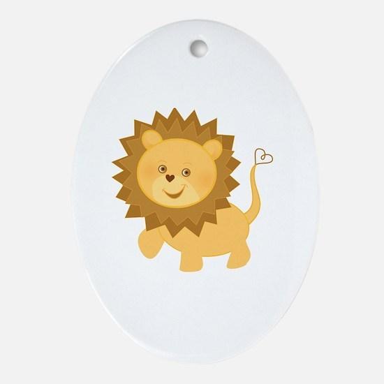 Cute Lion Oval Ornament
