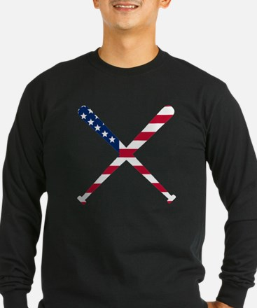 Baseball Bats American Flag Long Sleeve T-Shirt