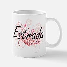 Estrada surname artistic design with Flowers Mugs