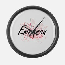 Emerson surname artistic design w Large Wall Clock