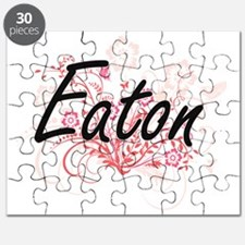 Eaton surname artistic design with Flowers Puzzle