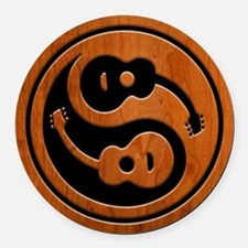 Wood Guitar Yang Round Car Magnet