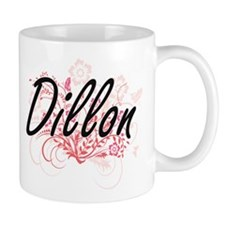 Dillon surname artistic design with Flowers Mugs