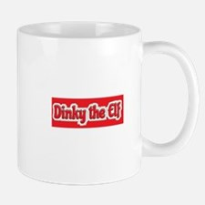 Dinky the Elf red distressed background Mugs