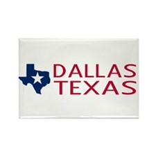 Dallas, Texas with State Shape & Rectangle Magnet