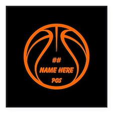 Personalized Basketball Name Number Orange Black S