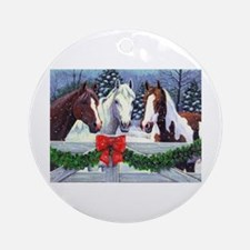Christmas Horses Round Ornament