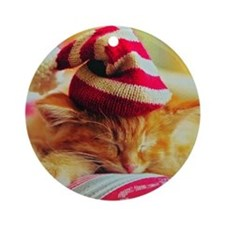 Christmas Kitty Round Ornament