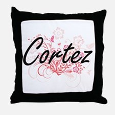 Cortez surname artistic design with F Throw Pillow