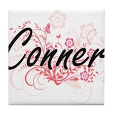 Conner surname artistic design with F Tile Coaster