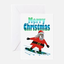 Snowboard Santa Greeting Cards
