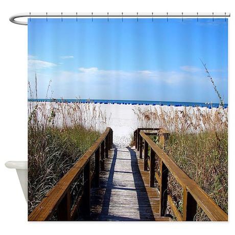 Cute Beach Theme Shower Curtain