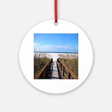 Walk on the Beach Round Ornament