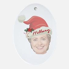 Hillary Clinton Holiday Oval Ornament