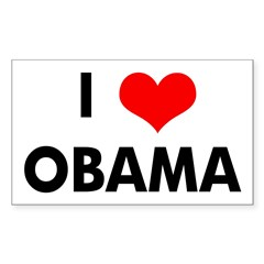 I Heart Obama Rectangle Decal