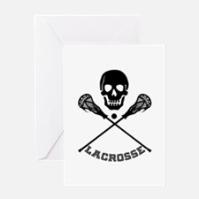 Skull and Lacrosse Sticks Greeting Cards