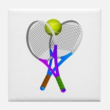 Tennis Rackets and Ball Tile Coaster