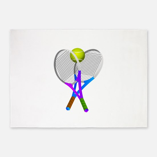Tennis Rackets and Ball 5'x7'Area Rug