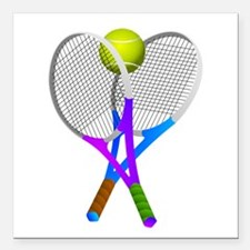 "Tennis Rackets and Ball Square Car Magnet 3"" x 3"""