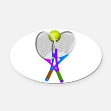Tennis Rackets and Ball Oval Car Magnet