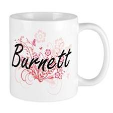 Burnett surname artistic design with Flowers Mugs