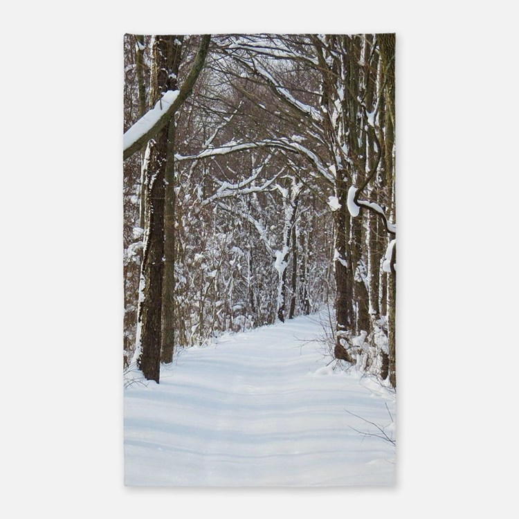 Snow trail Area Rug