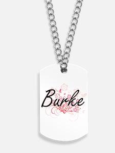 Burke surname artistic design with Flower Dog Tags