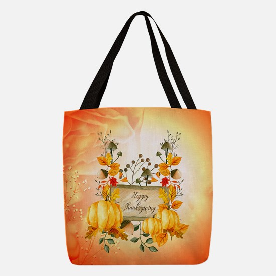 Happy thanksgiving with pumpkin Polyester Tote Bag