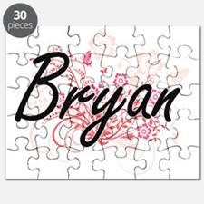 Bryan surname artistic design with Flowers Puzzle