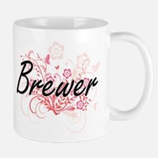 Brewer surname artistic design with Flowers Mugs