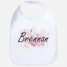 Brennan surname artistic design with Flowers Bib