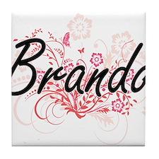 Brando surname artistic design with F Tile Coaster