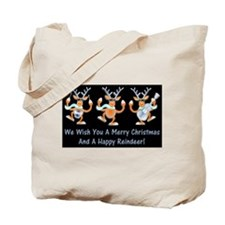 Merry Christmas Happy Reindeer Tote Bag