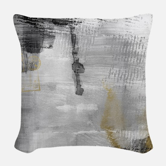 Black And White With Gold Queen Woven Throw Pillow
