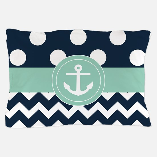 Navy Mint Dots Chevron Anchor Pillow Case