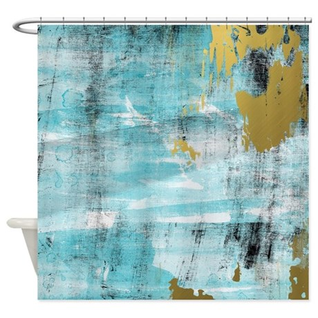 Blue And Gold Abstract Shower Curtain By DreasPlace1