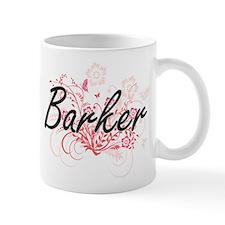 Barker surname artistic design with Flowers Mugs