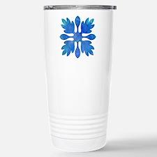 Ginger Hawaiian Quilt Blue Watercolor Travel Mug