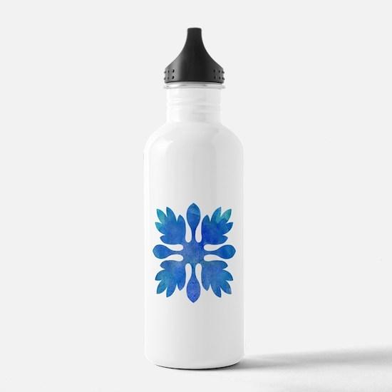 Ginger Hawaiian Quilt Blue Watercolor Water Bottle