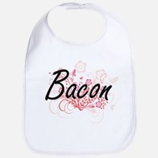 Bacon surname artistic design with Flowers Bib