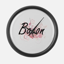 Bacon surname artistic design wit Large Wall Clock