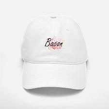 Bacon surname artistic design with Flowers Baseball Baseball Cap