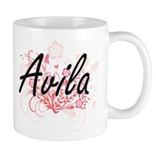 Avila surname artistic design with Flowers Mugs