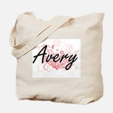 Avery surname artistic design with Flower Tote Bag
